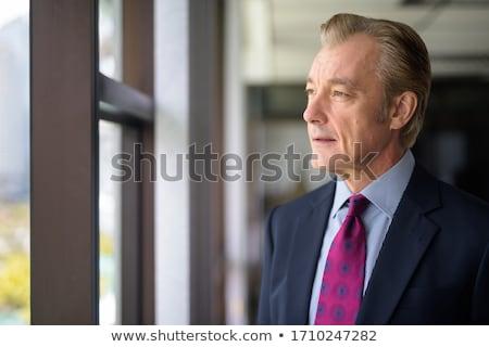 Photo stock: Maturité · affaires · pense · portrait · homme · d'affaires · main