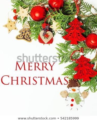 Noel kırmızı yeşil kart kar Stok fotoğraf © romvo