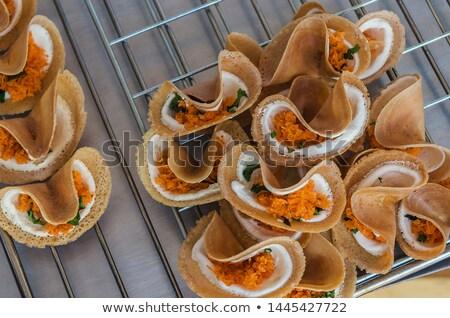 Thai croccante crepe isolato bianco alimentare Foto d'archivio © smuay