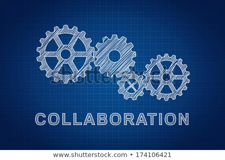 Stock fotó: Collaboration Concept Technical Drawing Of Gears The Idea Of T
