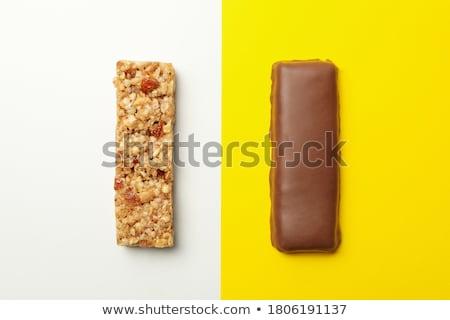 Csokoládé szelet diók bár tej desszert izolált Stock fotó © M-studio