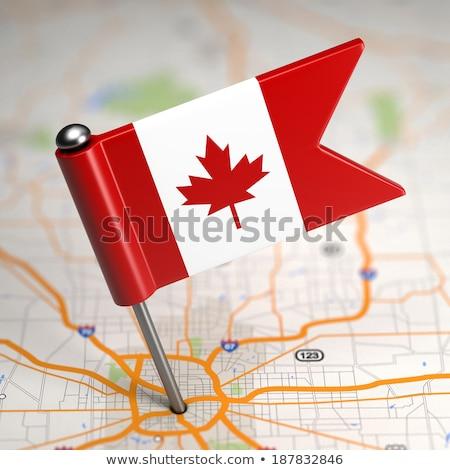 kanada · bayrağı · harita · Kanada · bayrak · üç · boyutlu · vermek - stok fotoğraf © tashatuvango