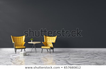 Stok fotoğraf: White Brick Wall Interior With Black Leather Office Armchair And Lighting