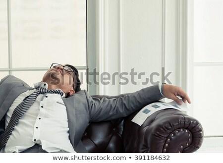 Foto stock: Empresário · sofá · cansado · adormecido · casa