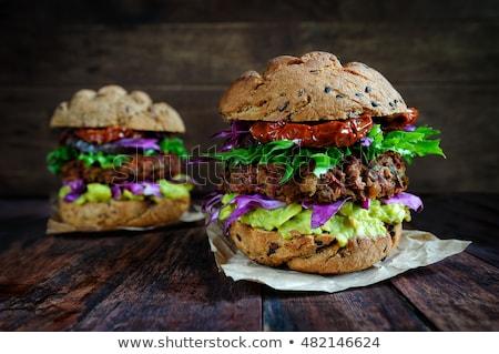 vegan · hamburger · zöldségek · frissen · sötét · rusztikus - stock fotó © juniart