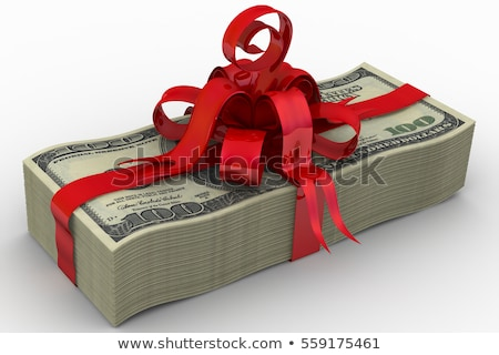 Pack of dollar bills with red bow Stock photo © CaptureLight