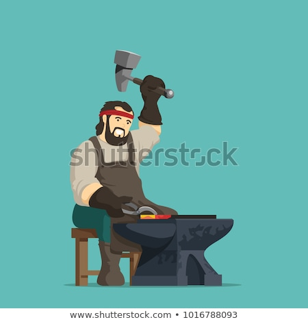 cartoon blacksmith anvil Stock photo © lineartestpilot