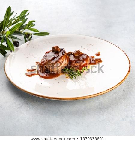 Zwei frisch vorbereitet Medaillon Platte Gemüse Stock foto © OleksandrO