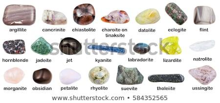 Foto stock: Hornblende Gemstone Isolated On White Background