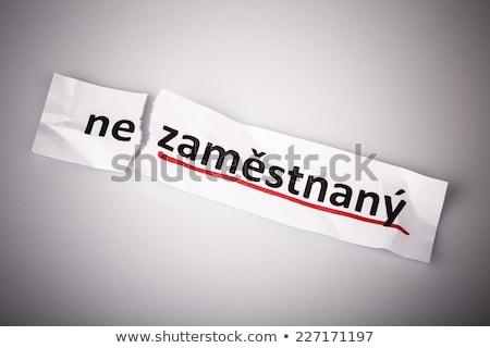 Szó foglalkoztatott cseh nyelv szakadt papír fehér Stock fotó © jarin13
