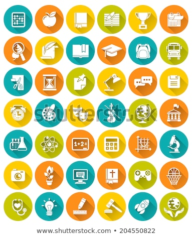 modern flat white vector silhouette icons of school subjects stock photo © vectorikart