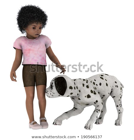 3d small people   playing with the dog stock photo © anatolym