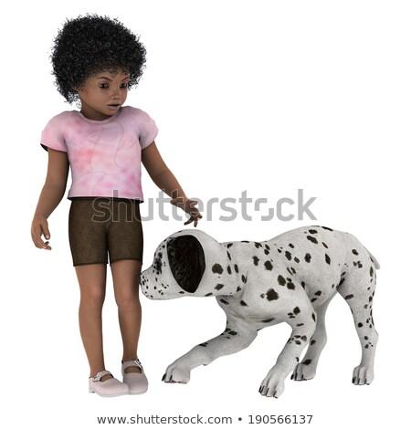3D · pequeño · personas · caminata · perro · hombre - foto stock © anatolym