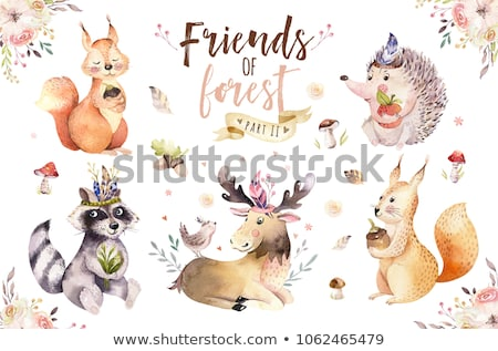 Cartoon background with deer and watercolor flowers Stock photo © Elmiko
