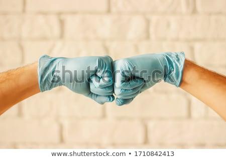 Stock fotó: ököl · kéz · latex · kesztyű · izolált · fehér