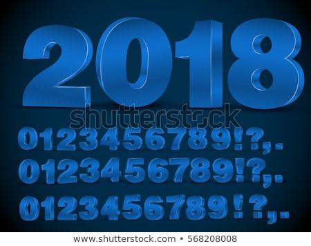 Numara vektör mavi web simgesi web dijital Stok fotoğraf © rizwanali3d