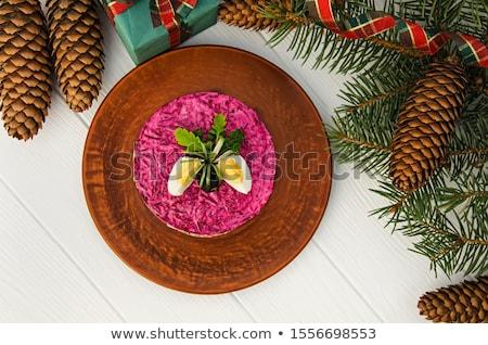 saláta · cékla · étel · hal · kenyér · gyűrű - stock fotó © zoryanchik