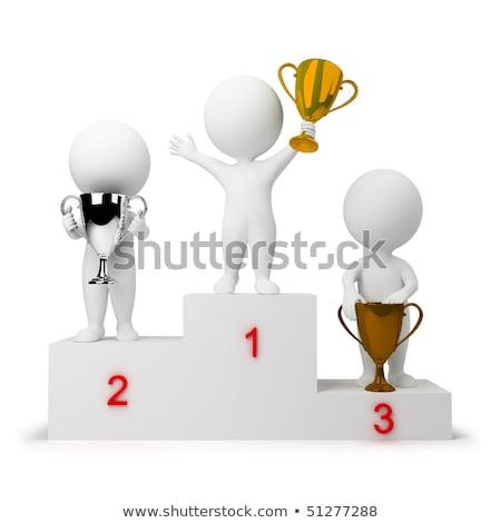 3 ª persona ganar podio ilustración aislado fondo Foto stock © get4net