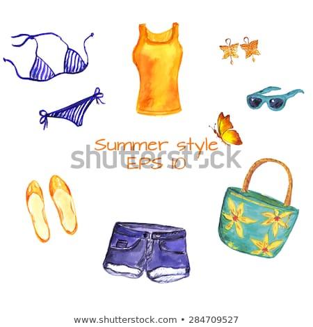 Nő visel bikini rövidnadrág kék szőke nő Stock fotó © stryjek