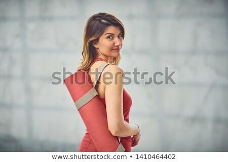 Фитнес-женщины · коврик · для · йоги · улыбаясь · серый · Focus - Сток-фото © deandrobot
