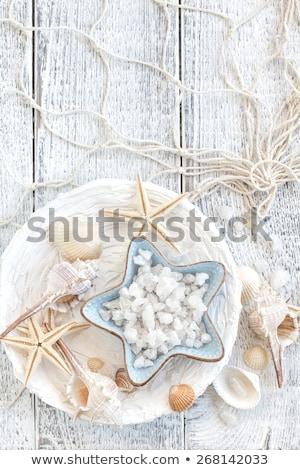 Sal marina conchas cuerpo vidrio verde medicina Foto stock © tycoon