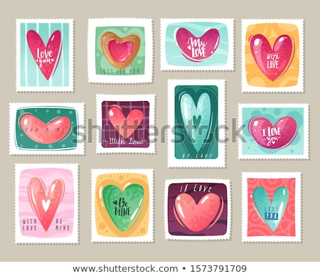 set of valentine`s day postage stamps Stock photo © kariiika