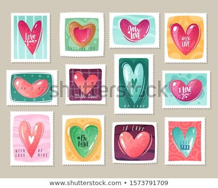 set of valentine`s day postage stamps Stock photo © kariiika