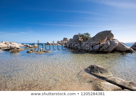 Rocks and coastline at Palombaggia beach in Corsica stock photo © Joningall