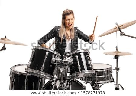 Davulcu oynama davul kadın kadın gülümseme Stok fotoğraf © deandrobot