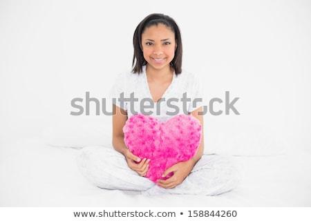 Portret czarne włosy model różowy serca Zdjęcia stock © wavebreak_media