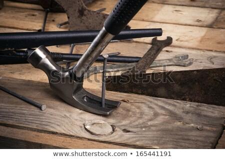 Klauw hamer nagel witte bouw Stockfoto © magraphics
