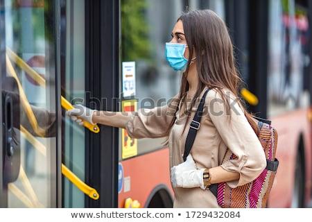 小さな 女性 ボード 笑顔の女性 ストックフォト © user_9834712