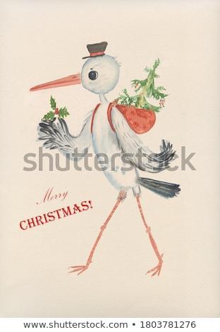 Zdjęcia stock: Ptaków · listonosz · christmas · ilustracja · pracy · kopercie