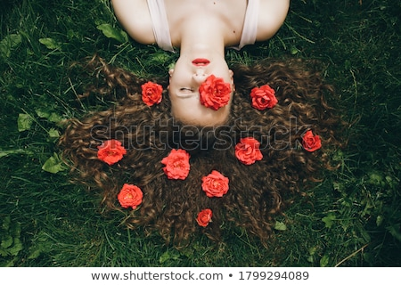 Pretty woman with long brown hair lays in grass Stock photo © dash