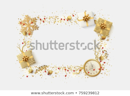 Stylish white and gold Christmas border Stock photo © ozgur