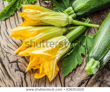 Taze organik kabak çiçek ahşap ahşap masa Stok fotoğraf © Yatsenko