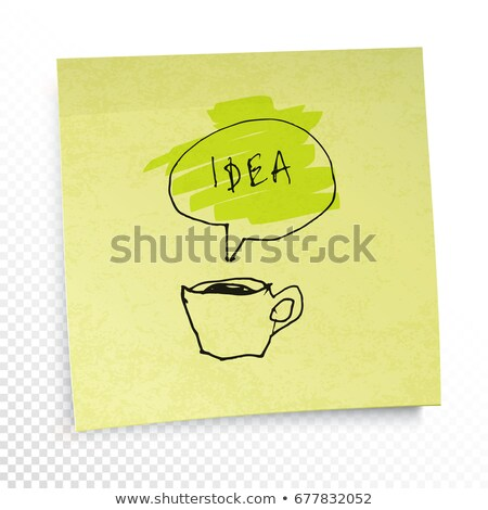 Coffee and 'Idea' word in speech baloon. Illustration on yellow  Stock photo © pashabo