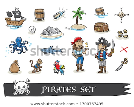 Stock photo: Vector flat style illustration of pirate and treasure chest.