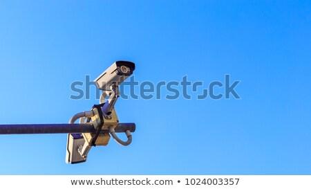 Foto stock: Dos · cctv · seguridad · cámaras · alto · post