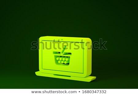Сток-фото: купить · зеленый · ноутбука · экране · 3d · визуализации