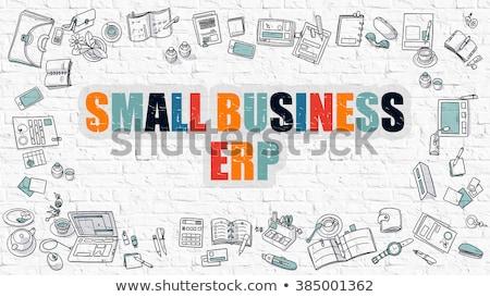 Petit commerce blanche doodle style entreprise ressource Photo stock © tashatuvango