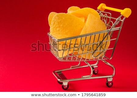 bitcoin in red shopping basket on white background isolated 3d stock photo © iserg