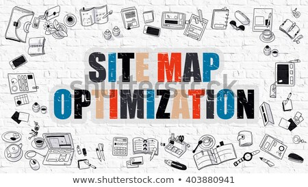 Mappa ottimizzazione bianco muro di mattoni doodle Foto d'archivio © tashatuvango