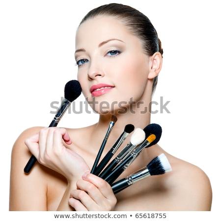 mooie · jonge · vrouwelijke · model · make-up · poseren - stockfoto © elnur