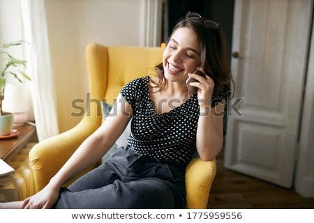 Сток-фото: диване · портрет · ребенка · весело · цвета