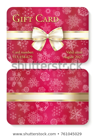 Luxury red Christmas gift card with white snowflakes in background and cream ribbon as decoration Stock photo © liliwhite
