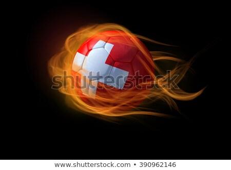 Calcio fiamme bandiera Svizzera nero illustrazione 3d Foto d'archivio © MikhailMishchenko