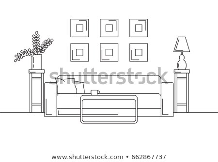 Sofa, table, vase with flowers. Bedside table, desk lamp. Linear sketch of the interior in a modern  Stock photo © Arkadivna