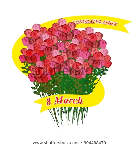 8 March. Big bouquet of roses. Holiday Ribbon. Vector illustrati Stock photo © popaukropa