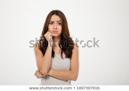 Zavart barna hajú nő kar áll néz Stock fotó © deandrobot